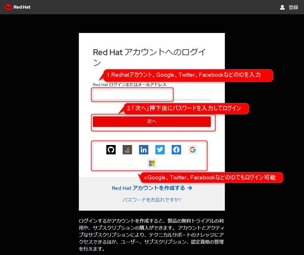 https://developers.redhat.com/へのログイン方法