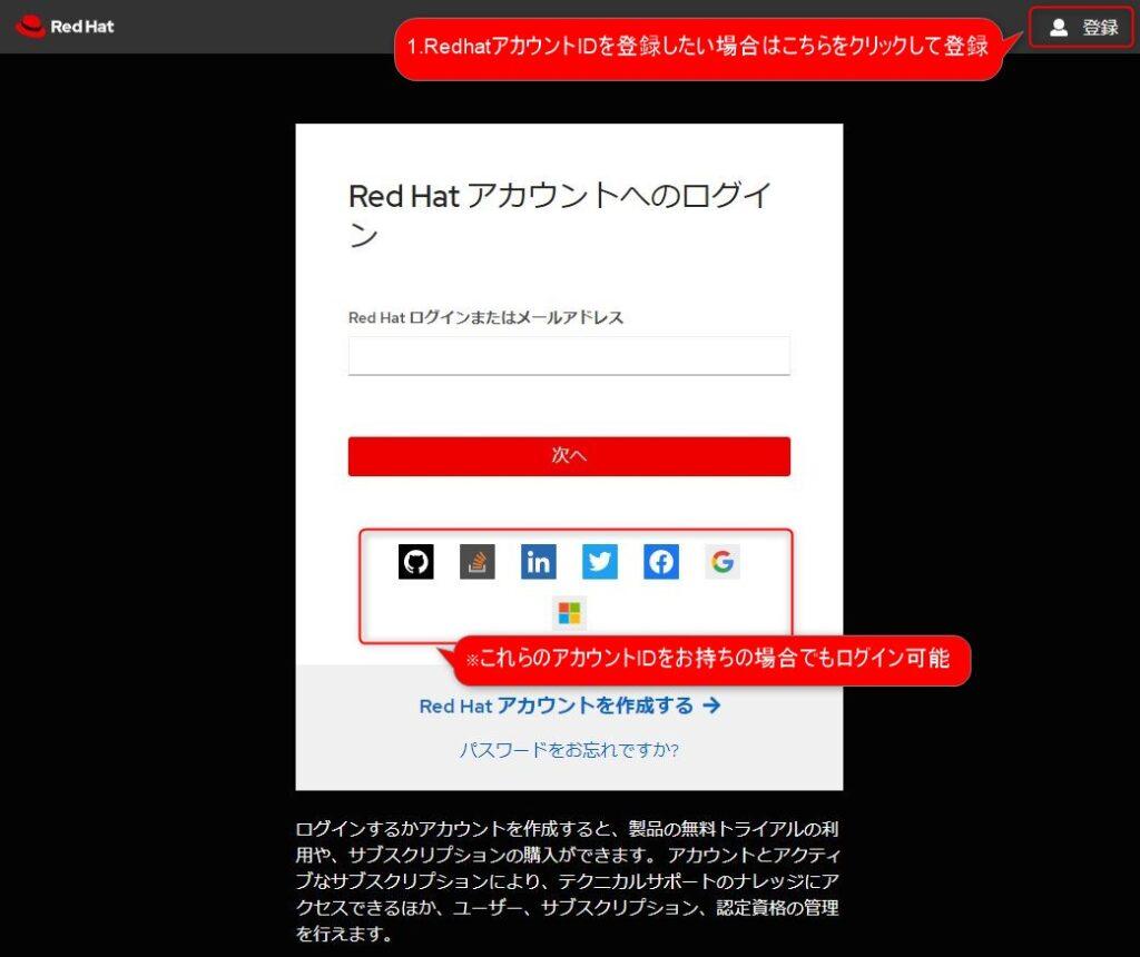 RedhatアカウントのID登録方法