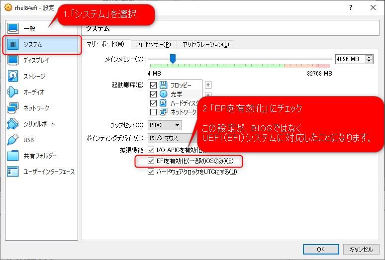 VirtualBoxでの仮想サーバ構築時のUEFI(UFI)システム設定